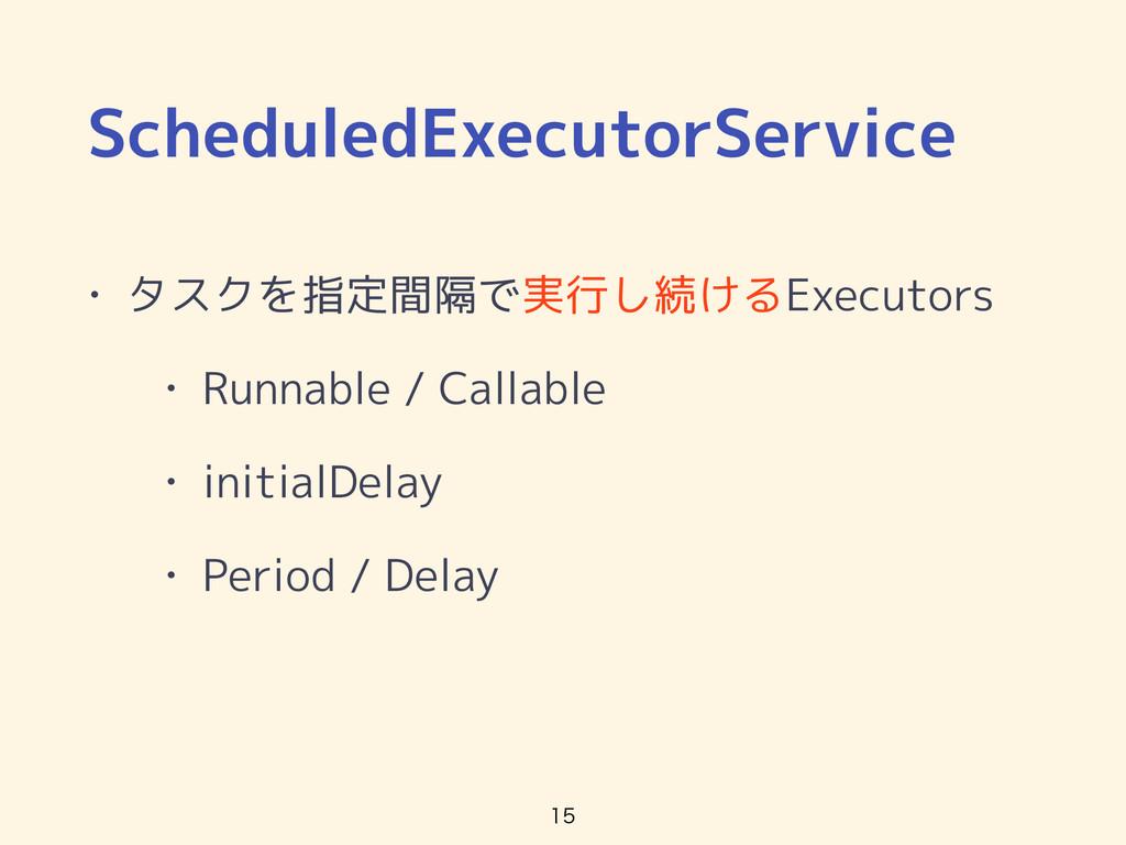 ScheduledExecutorService • タスクを指定間隔で実行し続けるExecu...