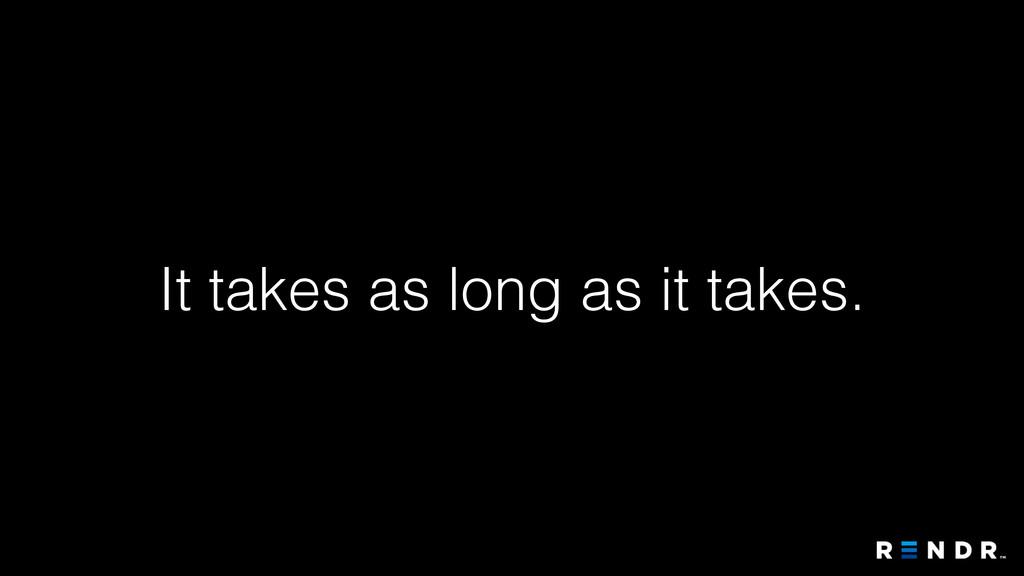 It takes as long as it takes.