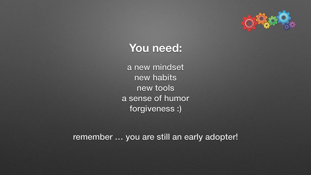 You need: a new mindset new habits new tools a ...