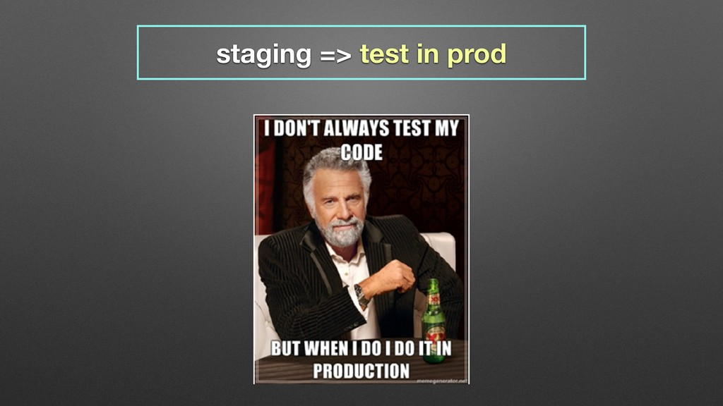 staging => test in prod