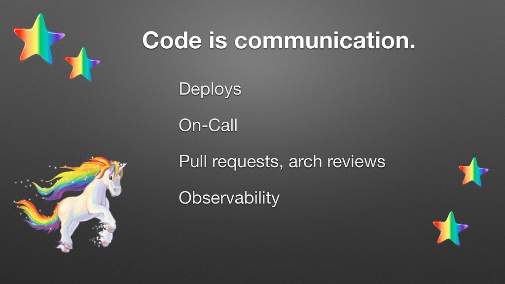 Deploys  On-Call  Pull requests, arch reviews  ...