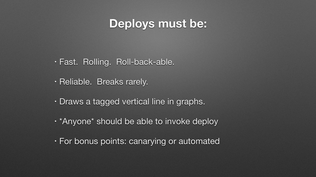 Deploys must be: • Fast. Rolling. Roll-back-abl...