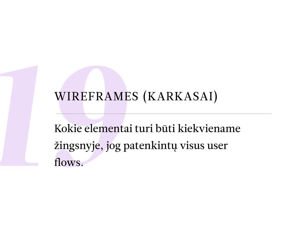 19 WIREFRAMES (KARKASAI) Kokie elementai turi b...