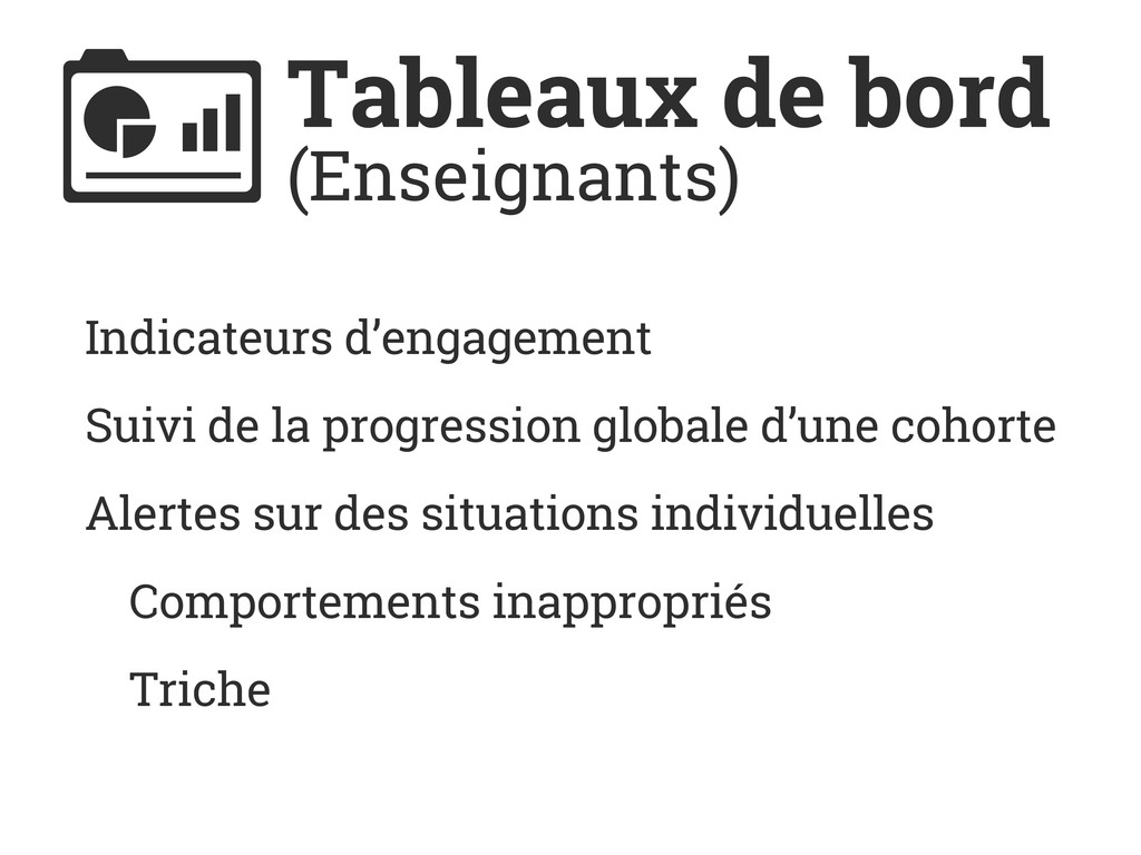 Tableaux de bord (Enseignants) Indicateurs d'en...