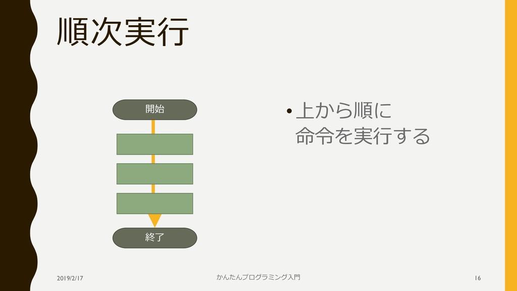 順次実行 •上から順に 命令を実行する 2019/2/17 かんたんプログラミング入門 16 ...