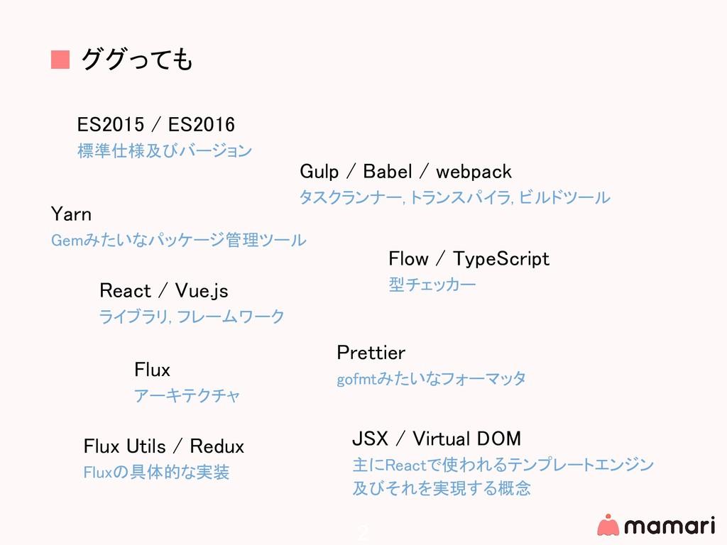 2 ES2015 / ES2016 標準仕様及びバージョン ■ ググっても React / V...