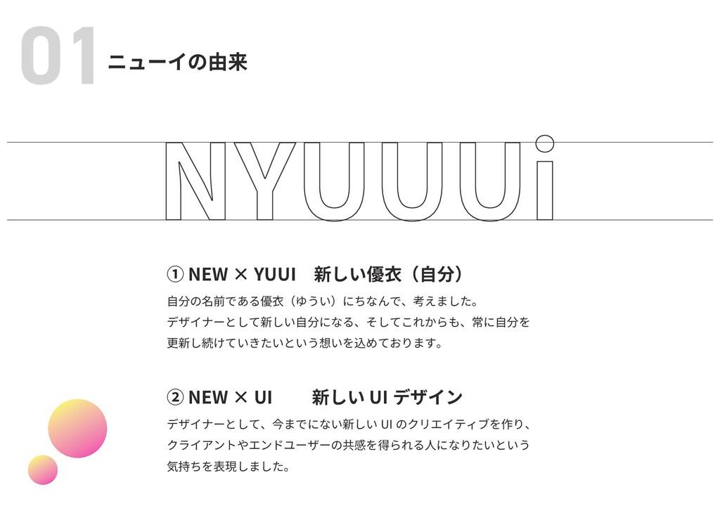 ニューイの由来 01 ① NEW × YUUI 新しい優衣(自分) 自分の名前である優衣(ゆう...