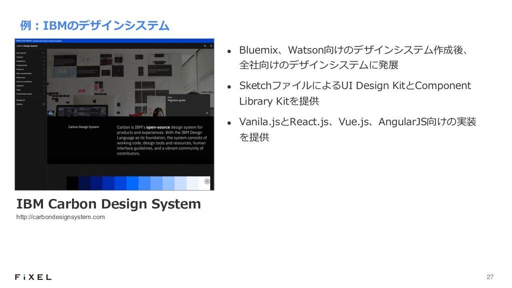 27 l Bluemix、Watson向けのデザインシステム作成後、 全社向けのデザインシステ...