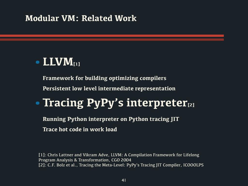 41 •LLVM[1] Framework for building optimizing c...