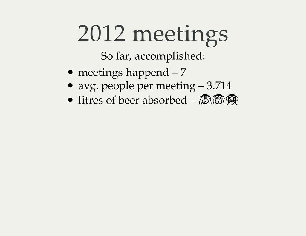 2012 meetings So far, accomplished: meetings ha...
