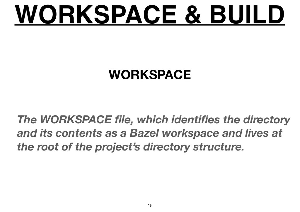 WORKSPACE & BUILD 15 The WORKSPACE file, which i...