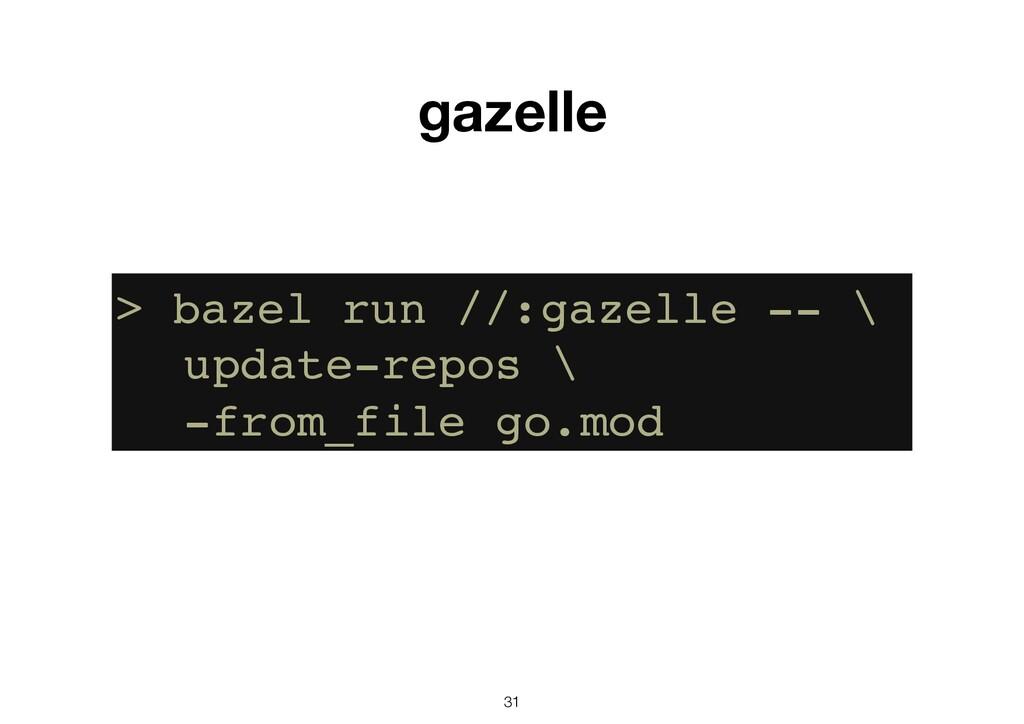 31 gazelle > bazel run //:gazelle -- \ update-r...