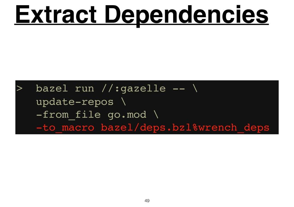 49 Extract Dependencies > bazel run //:gazelle ...