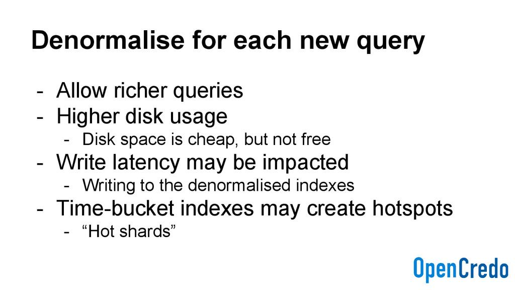 Denormalise for each new query - Allow richer q...