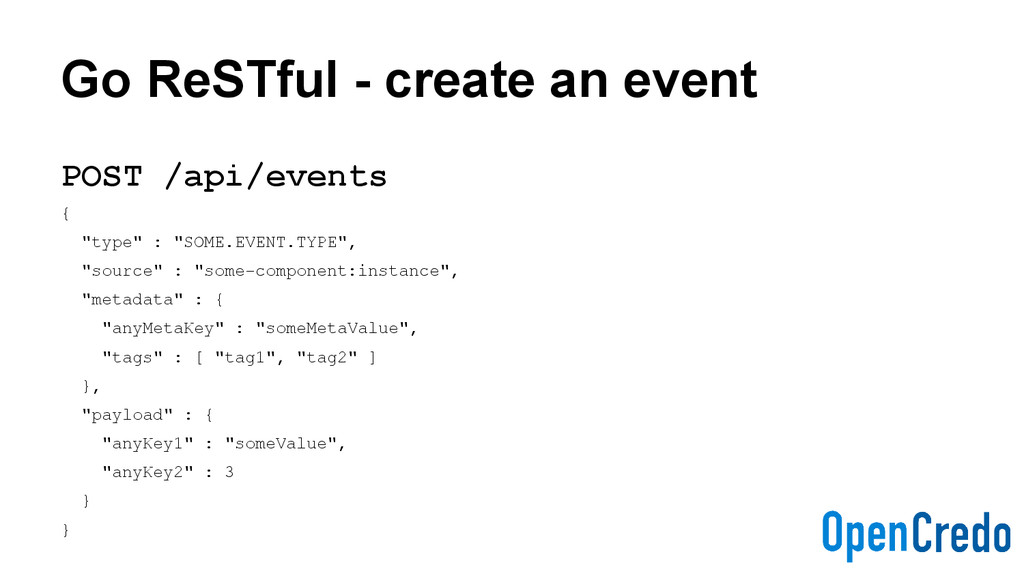 Go ReSTful - create an event POST /api/events {...