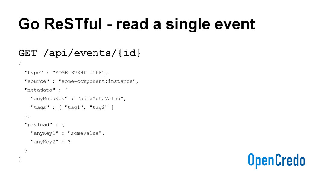 Go ReSTful - read a single event GET /api/event...