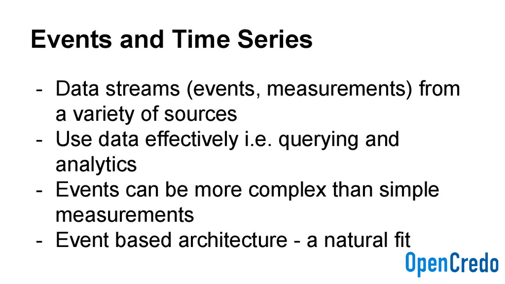 Events and Time Series - Data streams (events, ...