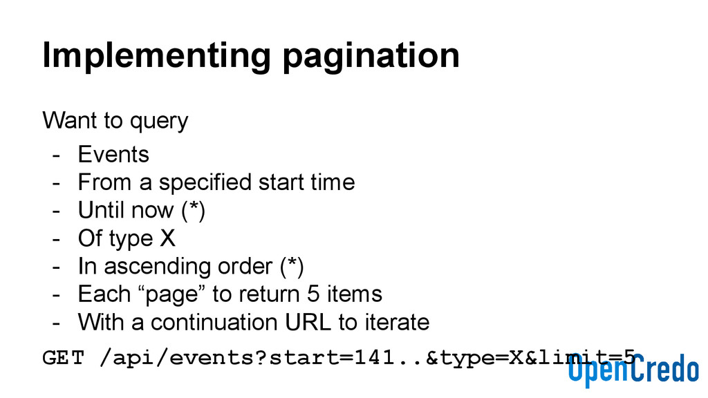 Implementing pagination Want to query - Events ...