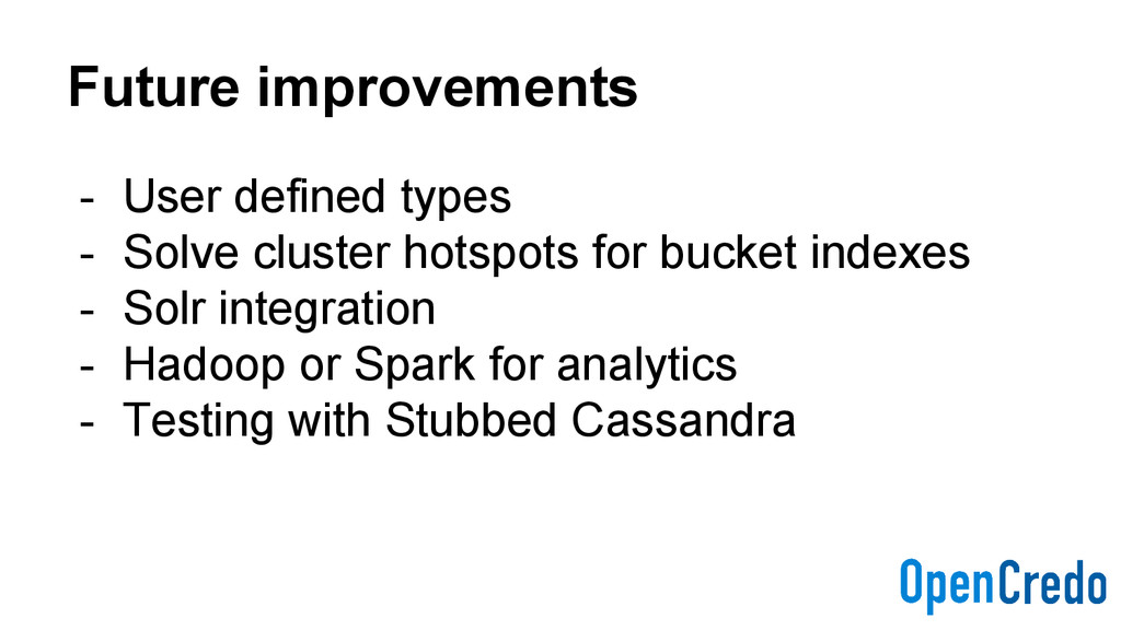 Future improvements - User defined types - Solv...
