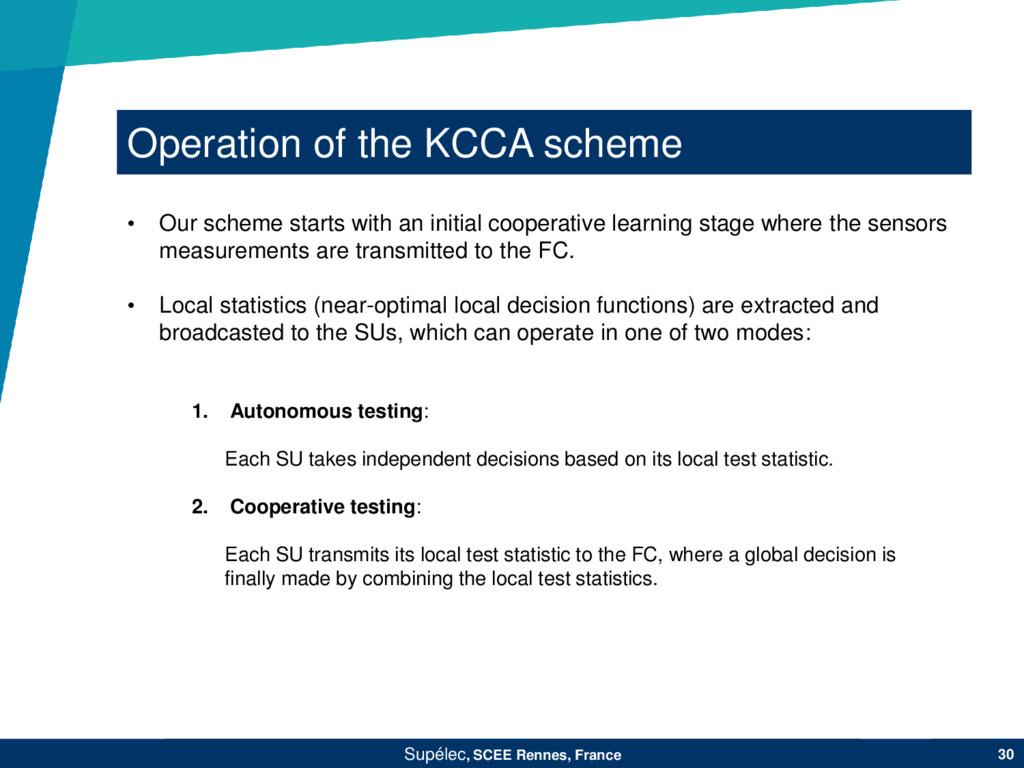 Operation of the KCCA scheme Supélec, SCEE Renn...