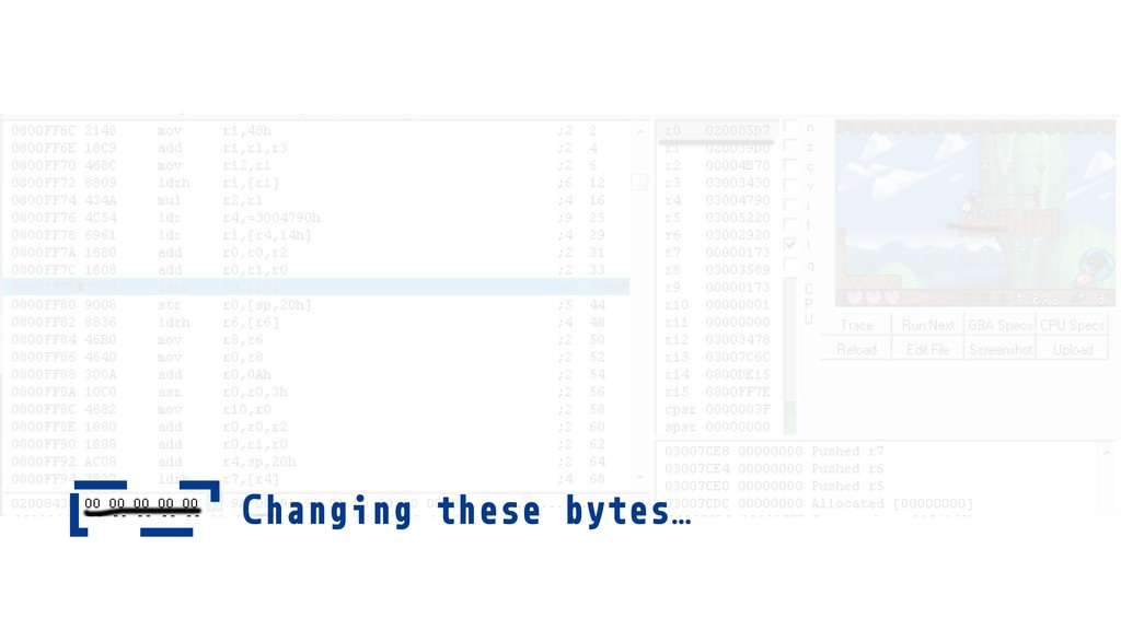 Changing these bytes…