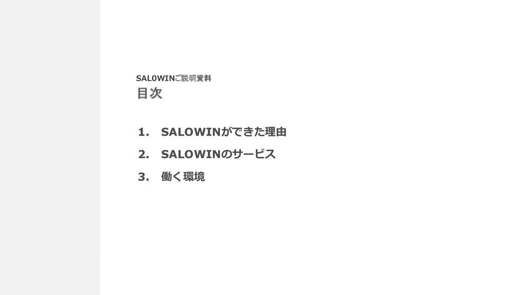 2 1. SALOWINができた理由 2. SALOWINのサービス 3. 働く環境 SAL0...