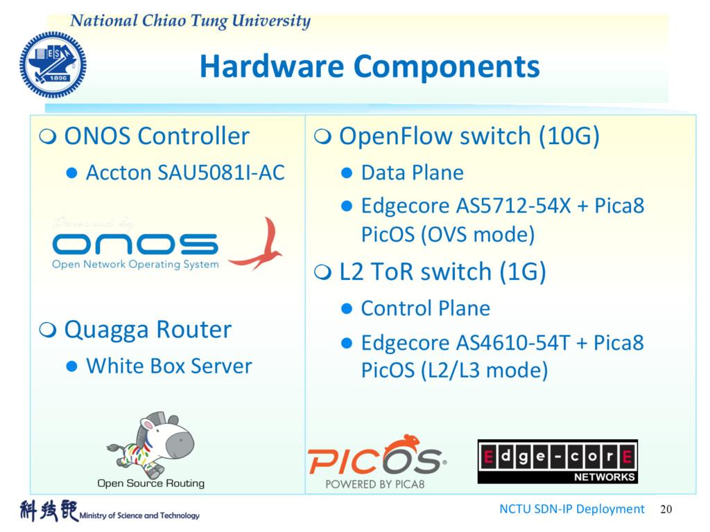 Hardware Components NCTU SDN-IP Deployment 20 m...