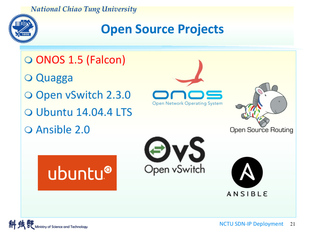 Open Source Projects NCTU SDN-IP Deployment 21 ...