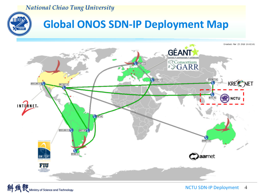 Global ONOS SDN-IP Deployment Map NCTU SDN-IP D...