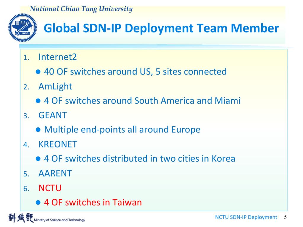 Global SDN-IP Deployment Team Member NCTU SDN-I...