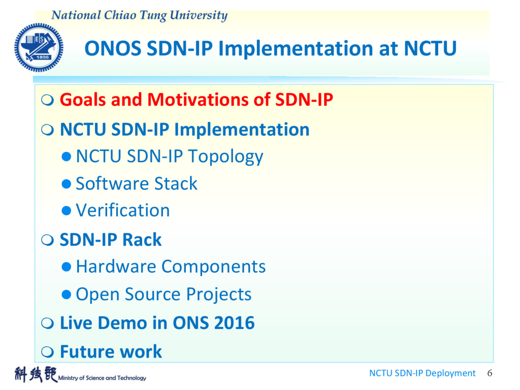 ONOS SDN-IP Implementation at NCTU NCTU SDN-IP ...