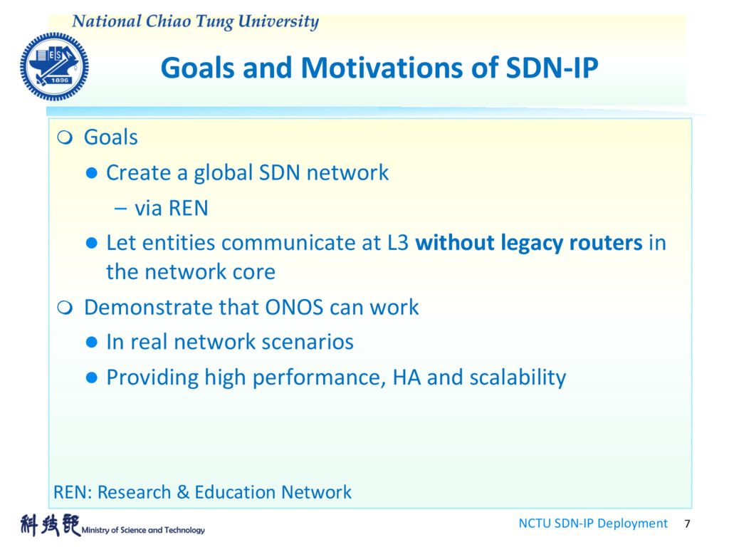Goals and Motivations of SDN-IP NCTU SDN-IP Dep...