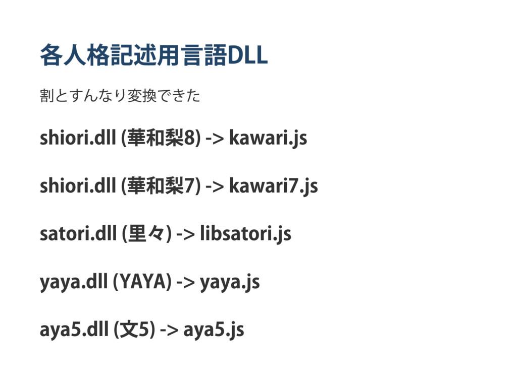 各人格記述用言語 DLL 割とすんなり変換できた shiori.dll ( 華和梨 8) ‑>...
