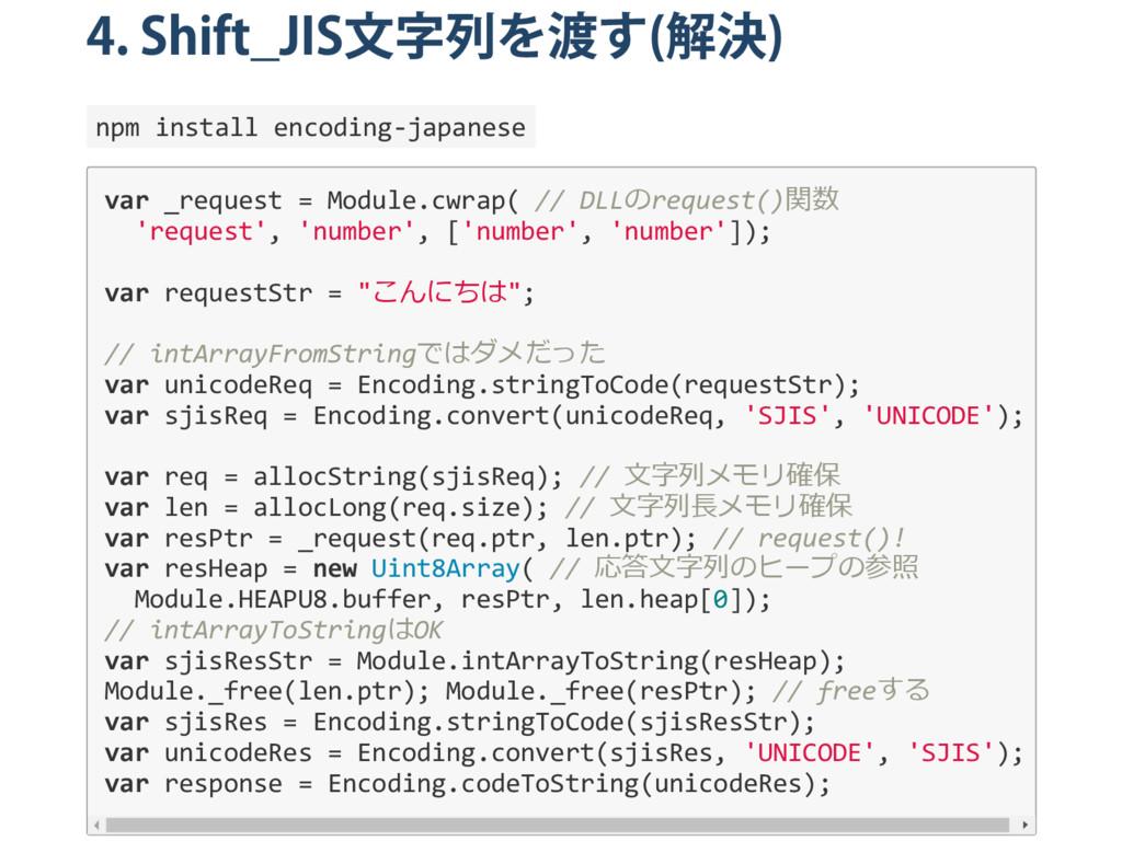 4. Shift̲JIS 文字列を渡す ( 解決 ) npm install encoding...