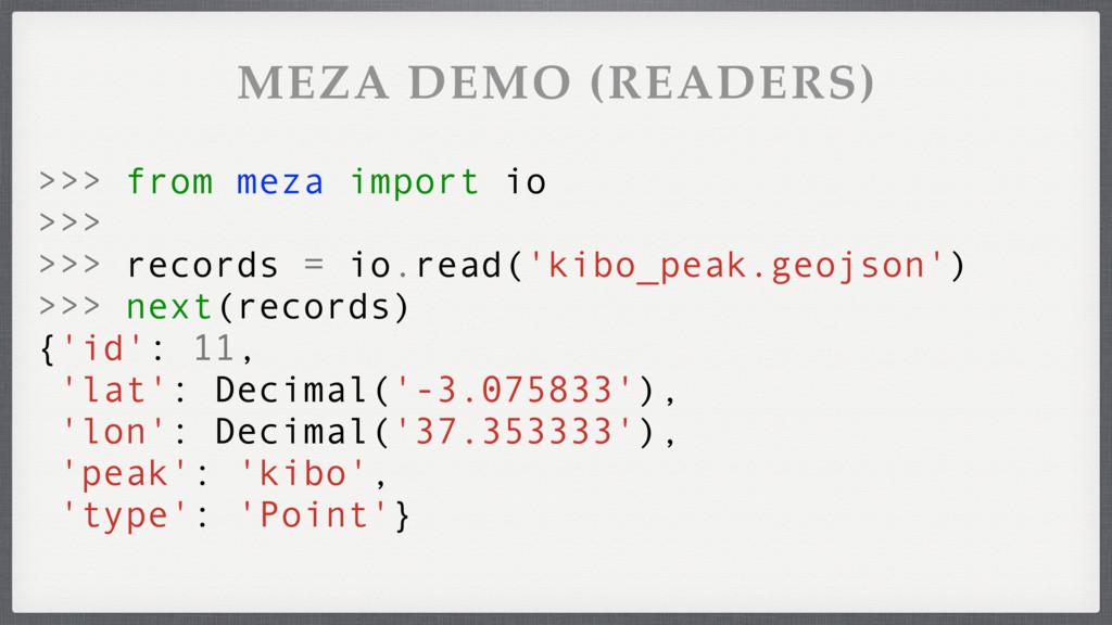 >>> from meza import io >>> >>> records = io.re...