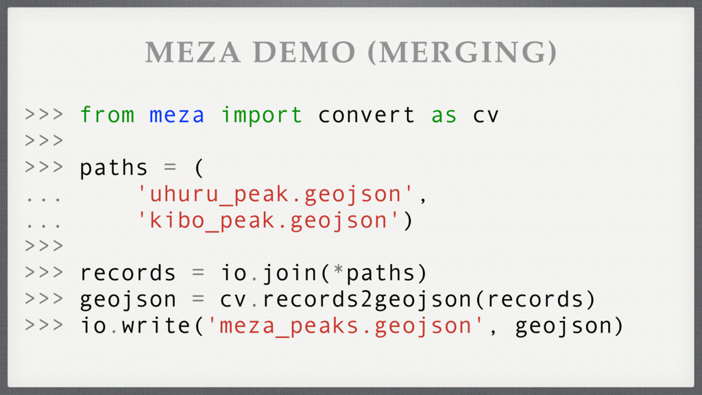 MEZA DEMO (MERGING) >>> from meza import conver...