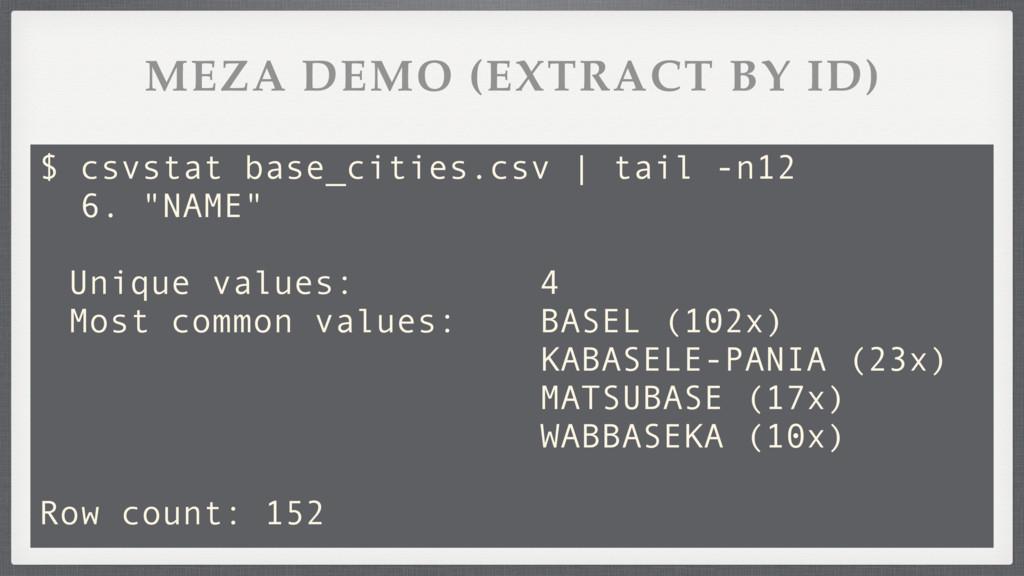 "$ csvstat base_cities.csv | tail -n12 6. ""NAME""..."