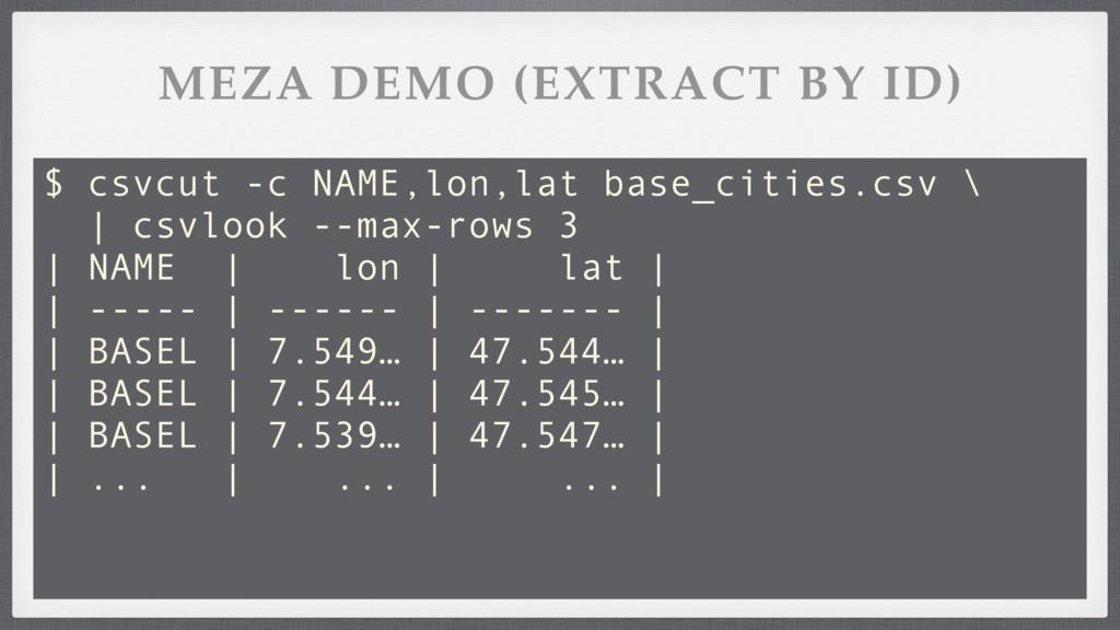 MEZA DEMO (EXTRACT BY ID) $ csvcut -c NAME,lon,...