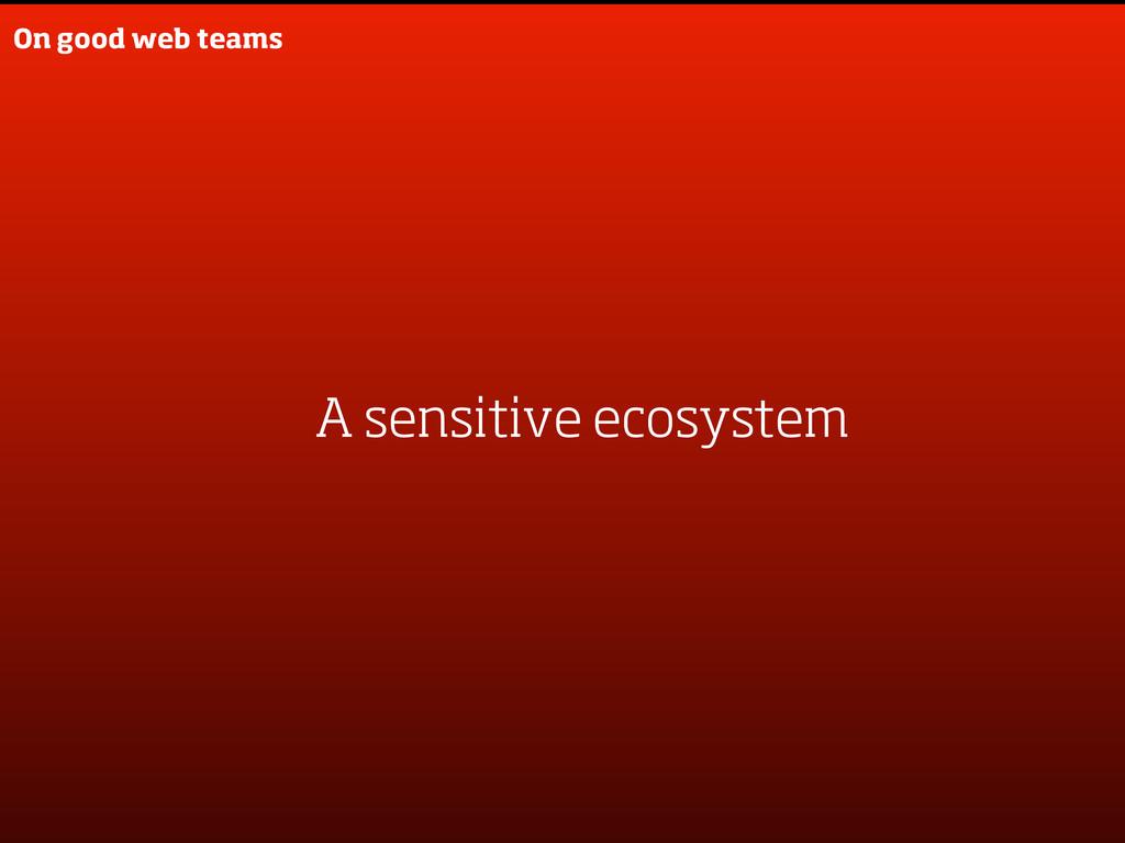 On good web teams A sensitive ecosystem