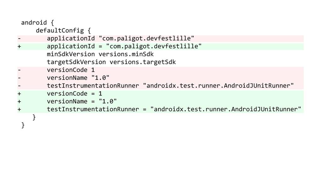 "android { defaultConfig { - applicationId ""com...."