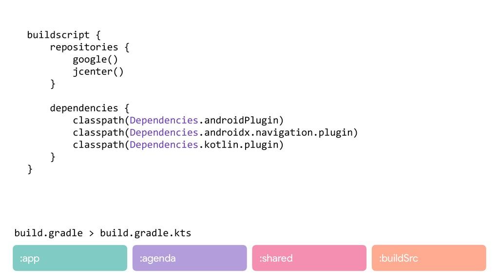 :app :agenda :shared buildscript { repositories...