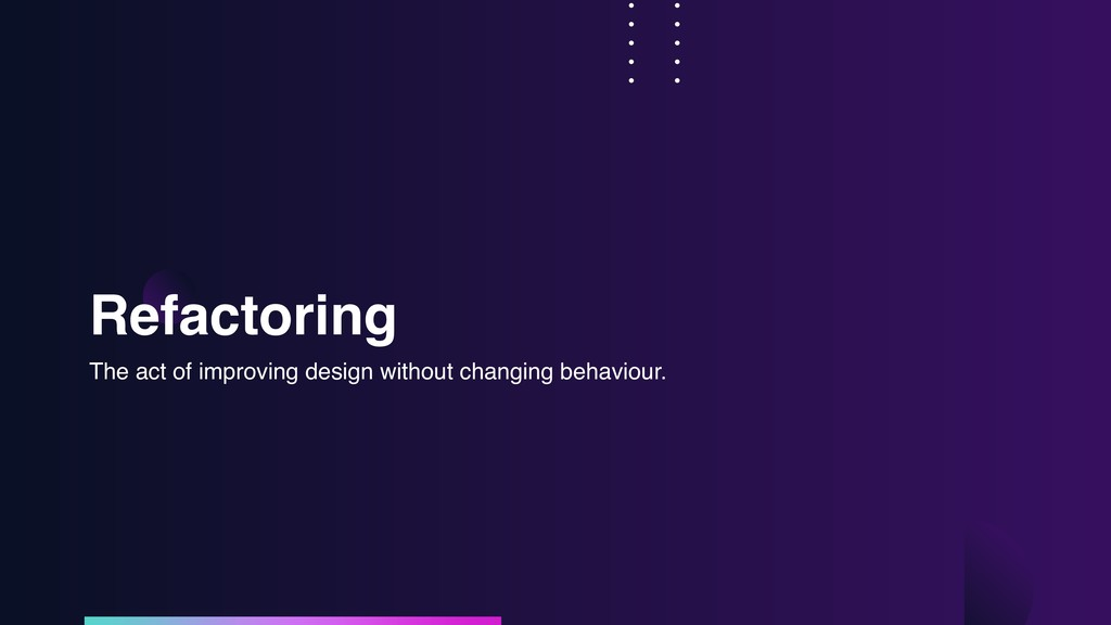 Refactoring The act of improving design without...