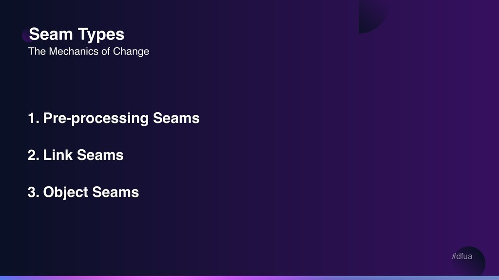 #dfua Seam Types 1. Pre-processing Seams 2. Lin...