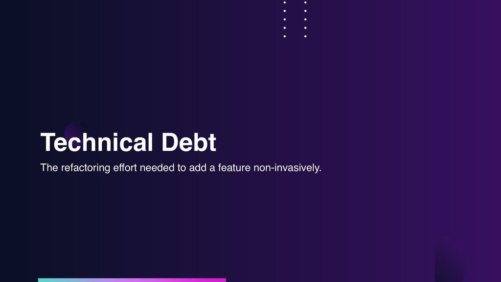 Technical Debt The refactoring effort needed to...