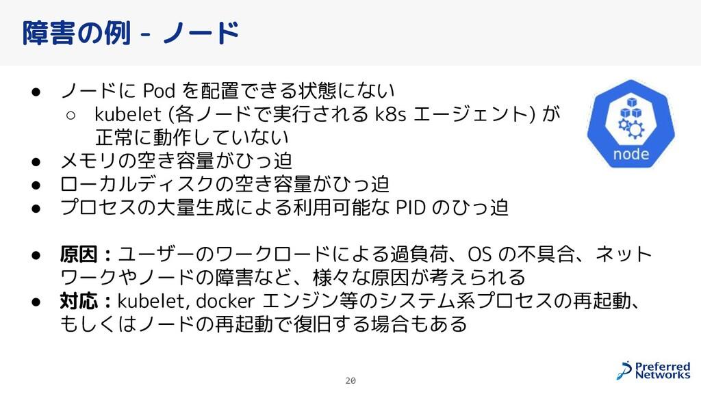 障害の例 - ノード ● ノードに Pod を配置できる状態にない ○ kubelet (各ノ...