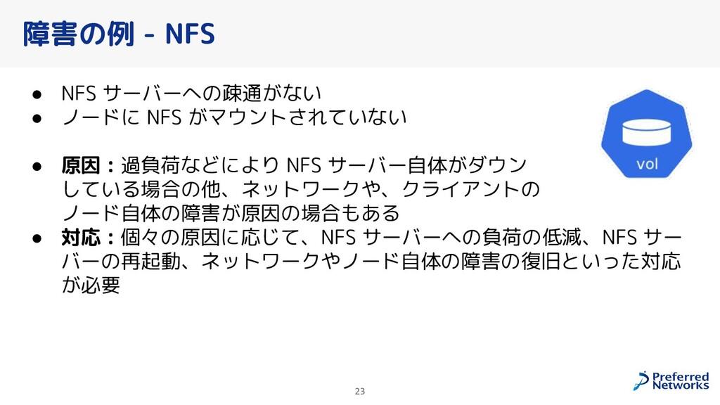 障害の例 - NFS ● NFS サーバーへの疎通がない ● ノードに NFS がマウントされ...