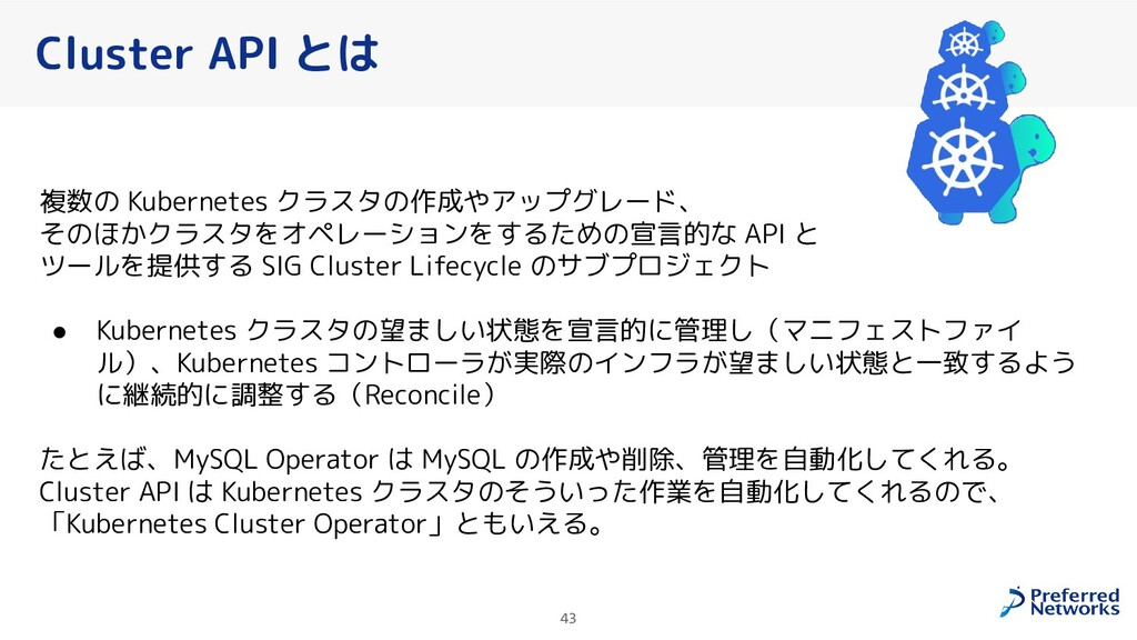 43 Cluster API とは 複数の Kubernetes クラスタの作成やアップグレー...