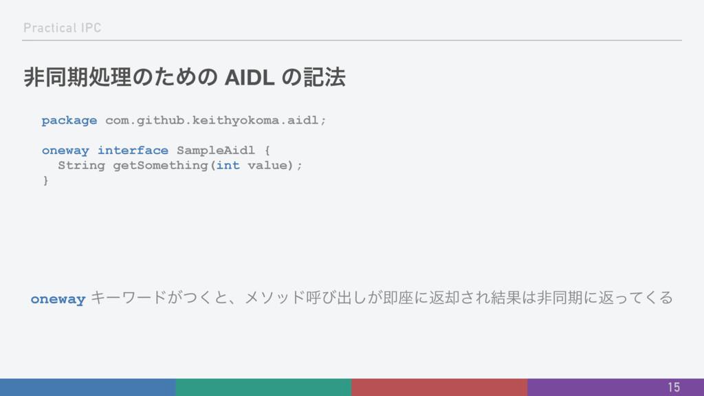 Practical IPC ඇಉظॲཧͷͨΊͷ AIDL ͷه๏ package com.gi...