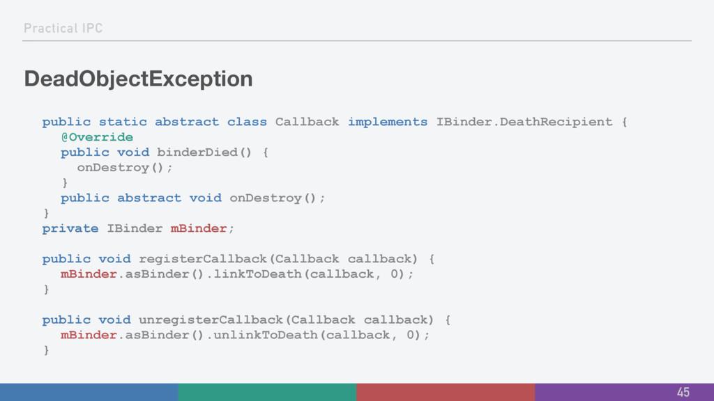 Practical IPC DeadObjectException public static...