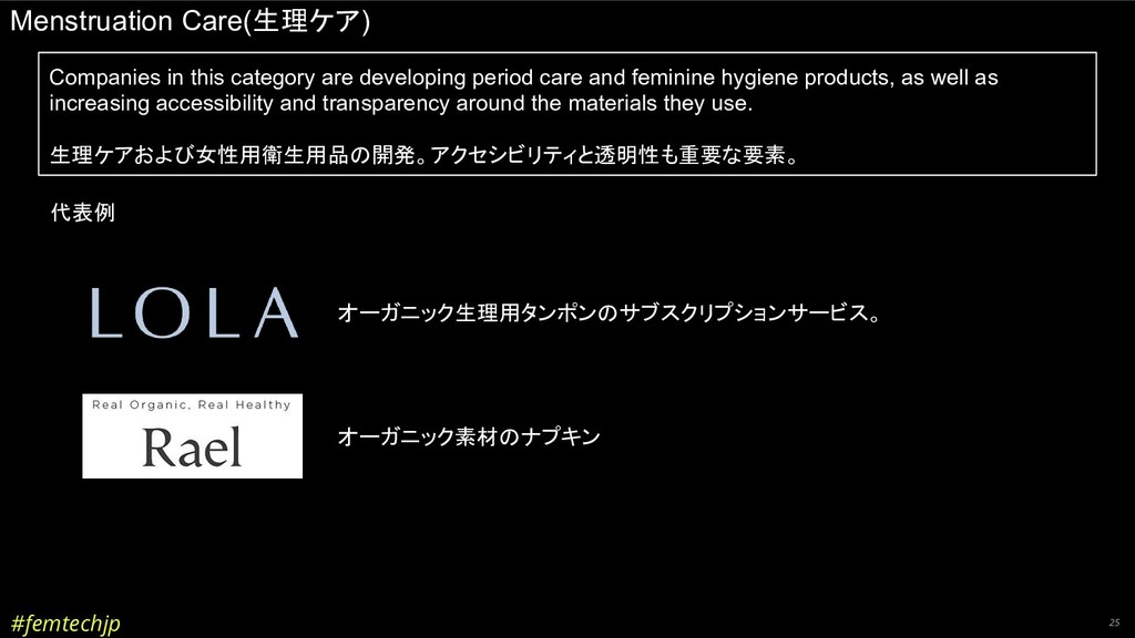 #femtechjp 25 Menstruation Care(生理ケア) Companies...